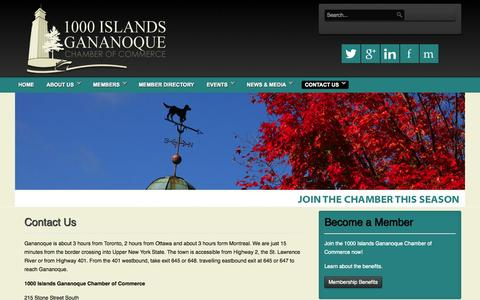 Screenshot of Hours Page 1000islandsganchamber.com - Directions & Address - captured Nov. 5, 2014
