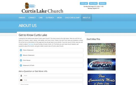 Screenshot of About Page curtislake.org - About Us   |  Curtis Lake Christian Church | Finding hope, Developing faith, Leading with love. - captured Feb. 2, 2016