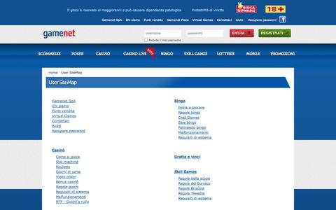 Screenshot of Site Map Page gamenet.it - Mappa del sito - Gamenet - captured Oct. 1, 2014
