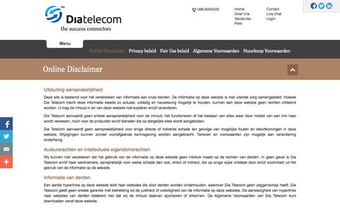 Screenshot of Privacy Page diatele.com - Privacy Policy - Dia Telecom • The Success Connectors - captured Oct. 5, 2014