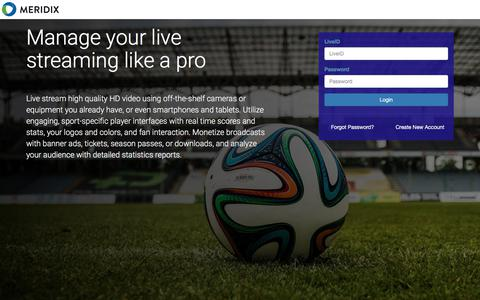 Screenshot of Login Page meridix.com - LiveID Manager - captured Jan. 18, 2018
