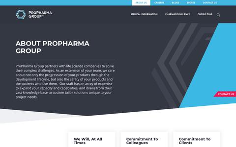 Screenshot of About Page propharmagroup.com - About ProPharma Group   Pharma, Biotech, Medical Device Partner - captured Jan. 16, 2018