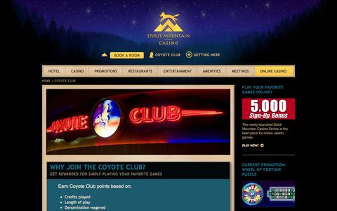 Screenshot of Signup Page spiritmountain.com - Coyote Club | Casino Promotions | Spirit Mountain Casino in Oregon - captured Nov. 11, 2015