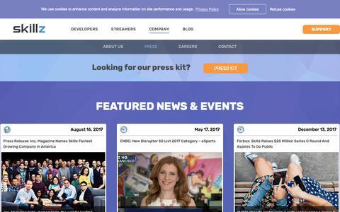Screenshot of Press Page skillz.com - News and Events - Skillz - captured Nov. 5, 2018