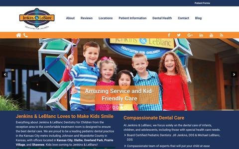 Screenshot of Home Page kidsmilekc.com - Jenkins and LeBlanc | Pediatric Dentist | Dentistry for Children - captured Oct. 16, 2017