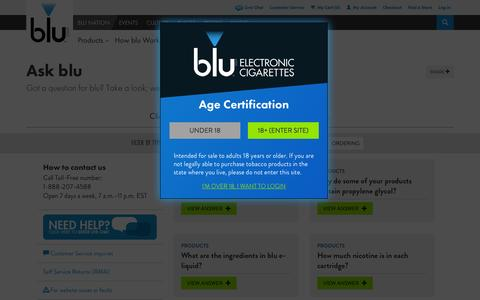 Screenshot of FAQ Page blucigs.com - Find blu eCigs® Information | Ask Us a Question | blu eCigs® - captured Sept. 19, 2014