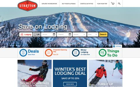 Screenshot of Home Page stratton.com - Stratton Mountain Ski Resort in Vermont | Best Ski Resort Near NYC - captured Oct. 17, 2015
