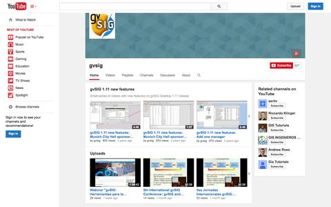 Screenshot of YouTube Page youtube.com - gvsig  - YouTube - captured Oct. 23, 2014