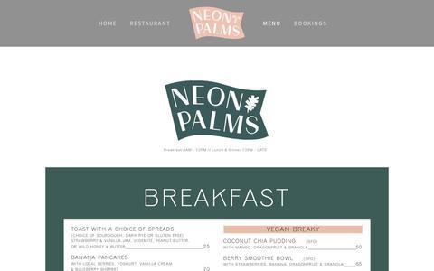Screenshot of Menu Page neonpalms.com - Menu — Neon Palms - captured Oct. 19, 2018