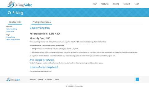 Screenshot of Pricing Page billingvalet.com - Billing Valet | Subscription billing made easy - captured March 3, 2016