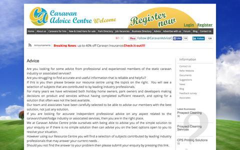 Screenshot of Support Page caravan-advice-centre.co.uk - Advice | Caravan Advice Centre - captured Dec. 7, 2015