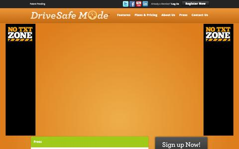 Screenshot of Press Page drivesafemode.com - Drive Safe Mode - Prevent Calls and Driving While Texting - captured Sept. 30, 2014