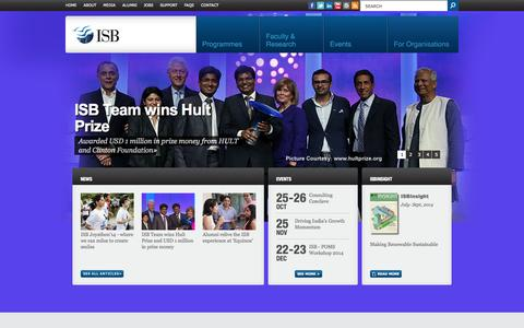 Screenshot of Home Page isb.edu - Indian School of Business (ISB) | Management Education - captured Oct. 10, 2014