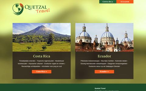 Screenshot of Home Page quetzaltravel.nl - Quetzal Travel - Costa Rica & Ecuador rondreis specialist - captured Dec. 15, 2015