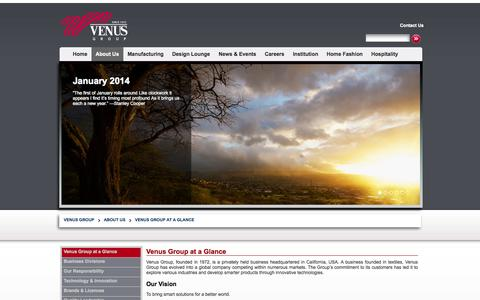 Screenshot of About Page venusgroup.com - Venus Group at a Glance | Venus Group - captured Oct. 9, 2014