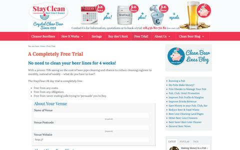 Screenshot of Trial Page cleanbeerlines.co.uk - A free 28 day trial. No need to clean your lines for 4 weeks - captured Oct. 6, 2014
