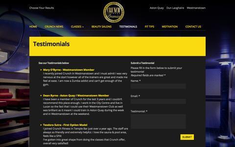 Screenshot of Testimonials Page crunchfitness.ie - Testimonials - Crunch Fitness - captured Oct. 3, 2014