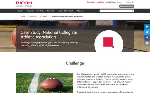 Screenshot of Case Studies Page ricoh-usa.com - National Collegiate Athletic Association - captured Jan. 3, 2019