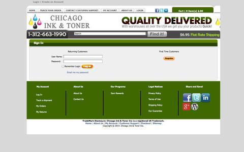 Screenshot of Login Page chicagoinkandtoner.com - Sign In - Chicago Ink and Toner - captured Sept. 29, 2014