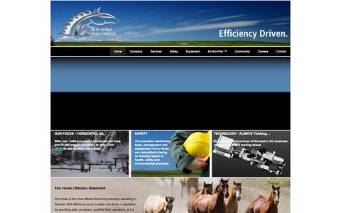 Screenshot of Home Page ihes.ca - Iron Horse | Horizontal Fracturing Specialists | CoilFrac | Calgary Alberta - captured Oct. 6, 2014