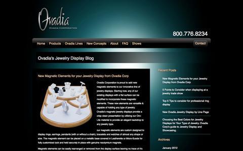 Screenshot of Blog ovadia.com - Ovadia Corp Jewelry Display Blog - captured Oct. 7, 2014