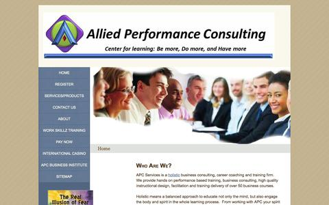 Screenshot of Home Page alliedperformance.com - Allied Performance Consulting Services - captured Oct. 4, 2014