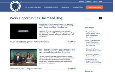 Screenshot of Blog workopportunities.net - Blog - Work Opportunities Unlimited - captured Jan. 15, 2016
