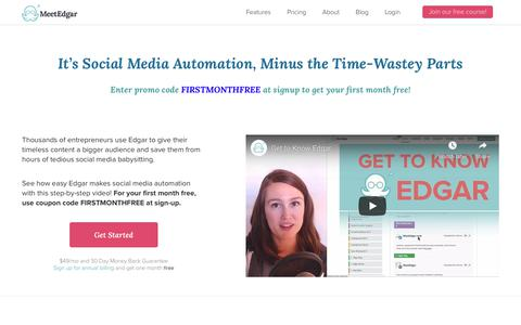 Screenshot of Signup Page meetedgar.com - Social Media Automation, Minus the Time-Wastey Parts - MeetEdgar - captured Aug. 13, 2019