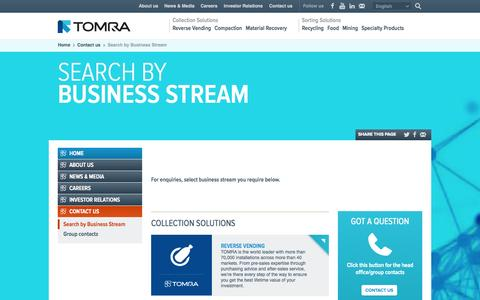 Screenshot of Contact Page tomra.com - TOMRA : Search by Business Stream - captured Sept. 19, 2014