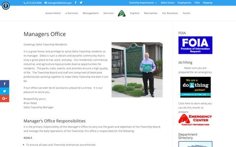 Screenshot of Team Page deltami.gov - Managers Office | Delta Township - captured Oct. 18, 2018