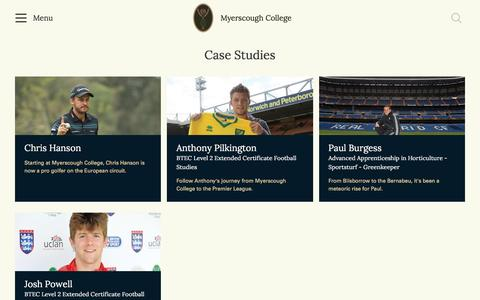 Screenshot of Case Studies Page myerscough.ac.uk - Case Studies | Myerscough College - captured Dec. 5, 2016