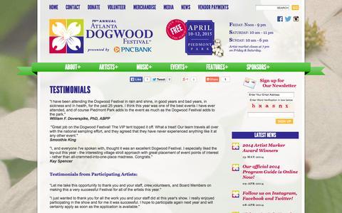 Screenshot of Testimonials Page dogwood.org - Testimonials | Atlanta Art Festivals | April 10-12, 2015 | Atlanta Dogwood Festival - captured Oct. 4, 2014
