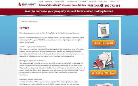 Screenshot of Privacy Page qpaint.com.au - Privacy - Qpaint - captured Sept. 27, 2014