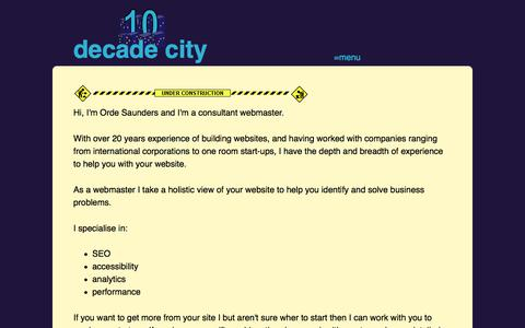 Screenshot of Services Page decadecity.net - Services | Decade City - captured Oct. 12, 2017