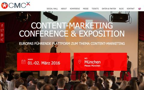 Screenshot of Home Page content-marketing-conference.com - Content Marketing Conference & Exposition – CMCX – Das Content-Marketing Event - captured March 4, 2016