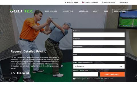 Screenshot of Pricing Page golftec.com - Request Golf Lesson Pricing | GOLFTEC - captured April 15, 2017