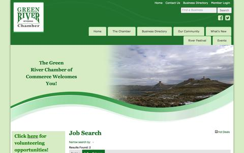 Screenshot of Jobs Page grchamber.com - Job Search - Green River Chamber of Commerce - captured March 12, 2016