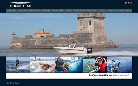 Screenshot of Home Page ocqueteau.com - Bateaux à moteur & voiliers OCQUETEAU - plaisance, croisière, pêche, sports nautiques et promenade, hors-bord et inboard - captured Feb. 6, 2015