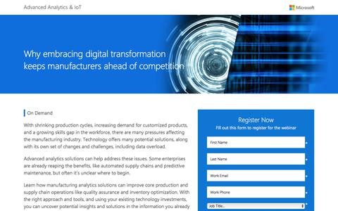 Screenshot of Landing Page microsoft.com - Why embracing digital transformation keeps manufacturers ahead of competition | Microsoft - captured June 17, 2017