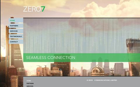 Screenshot of Home Page zero7communications.com - SEAMLESS CONNECTION - ZERO7 - captured Feb. 17, 2016