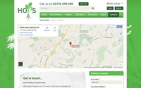Screenshot of Contact Page hopslaboursolutions.com - Hops Labour Solutions | Agricultural Recruitment | Farm Work | Farming Jobs - captured Nov. 1, 2014