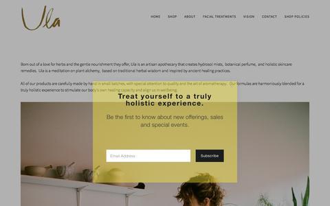 Screenshot of About Page ulabotanic.com - About — U l a - captured May 5, 2018