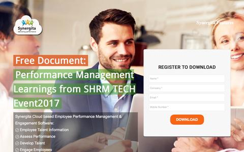 Screenshot of Landing Page synergita.com - Performance Management Learning from SHRM TECH Event 2017 - captured May 7, 2017
