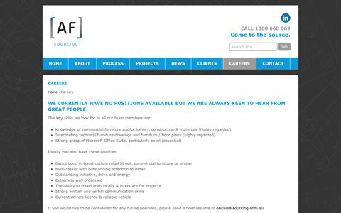 Screenshot of Jobs Page afsourcing.com.au - Careers | AF Sourcing - captured May 28, 2017