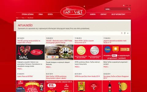Screenshot of Press Page tan-viet.com.pl - Aktualności - captured Oct. 30, 2014
