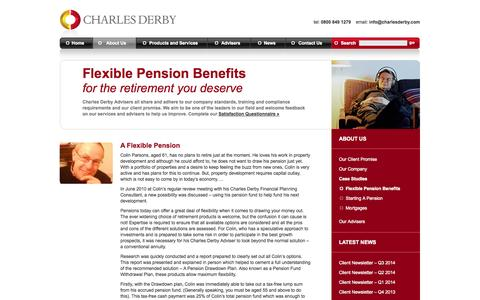 Screenshot of Case Studies Page charlesderbywm.com - Flexible Pension Benefits | Charles Derby Wealth Management | UK Financial Advisers: Pensions, Investments, Mortgages, Protection & Holistic Planning - captured Oct. 2, 2014