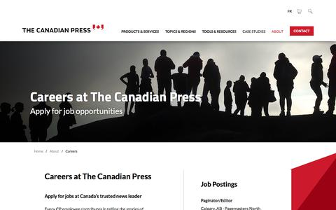 Screenshot of Jobs Page thecanadianpress.com - Start Your Career by Checking Our Job Postings | The Canadian Press - captured Sept. 20, 2018