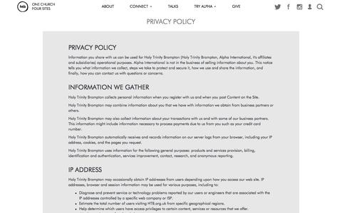 Screenshot of Privacy Page htb.org - Privacy Policy   HTB Church - captured Nov. 19, 2015