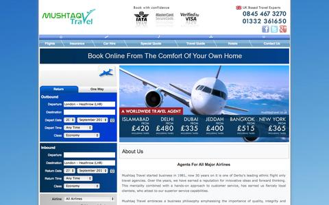 Screenshot of About Page mushtaqtravel.co.uk - About Mushtaq Travel, PIA Travel Agents, Airblue Agent, Cheap Pakistan Flights, Pakistan Tickets - captured Sept. 18, 2014