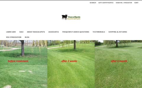 Screenshot of Home Page rascalspots.com - Rascal Spots: No more dog urine spots on your lawn. - captured Oct. 18, 2018